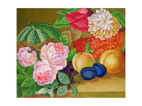 Still Life Art Print featuring the painting Fruits And Flowers .2006 by Natalia Piacheva