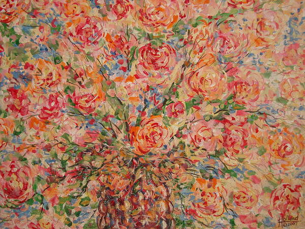 Flowers Art Print featuring the painting Full Bouquet. by Leonard Holland