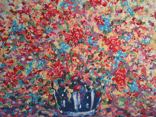 Flowers Art Print featuring the painting Full Flower Bouquet. by Leonard Holland