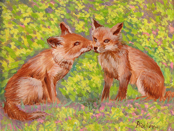 Animals Art Print featuring the painting Funny Foxes .2007 by Natalia Piacheva