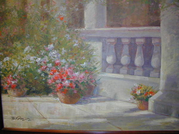 Flowers In Garden With Columns Art Print featuring the painting Garden Flowers by Bart DeCeglie