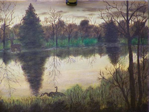 Landscape Art Print featuring the painting Geese At Sunrise by Charles Vaughn