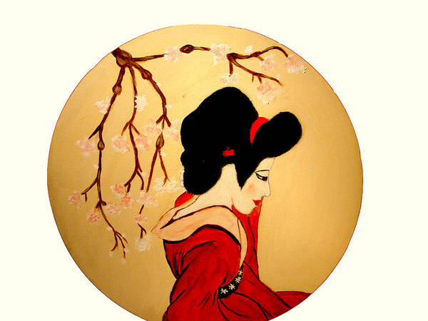 Geisha Girls Art Print featuring the painting Geisha Girl by Rusty Gladdish