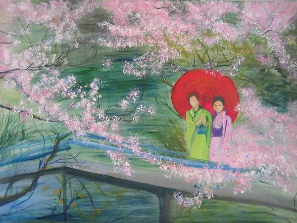 Landscape Art Print featuring the painting Geishas And Cherry Blossom by Lizzy Forrester