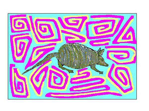Armadillo Art Print featuring the digital art George by Carole Boyd