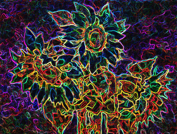 Sunflowers Art Print featuring the digital art Glowing Sunflowers by Iliyan Bozhanov