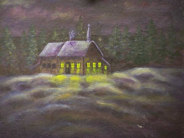 Snowscene Art Print featuring the painting God Lives Here by Charles Vaughn