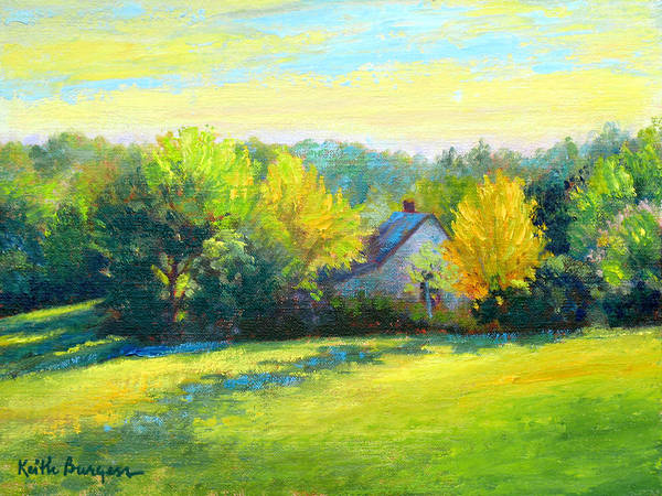 Landscape Art Print featuring the painting Golden Evening by Keith Burgess