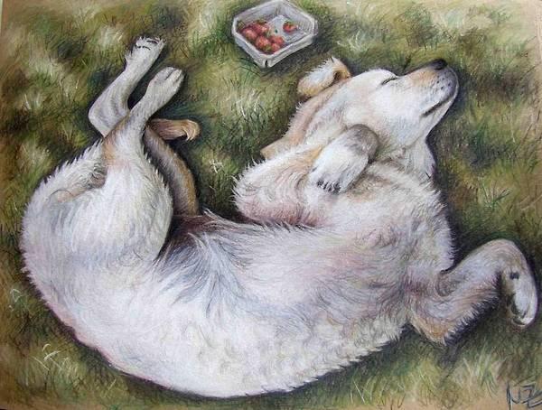 Dog Art Print featuring the pastel Golden Retriever Puppy by Nicole Zeug