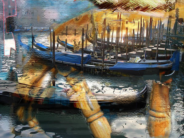 Italy Art Print featuring the digital art Gondolas Gondalas And More Gondalas by Xavier Carter