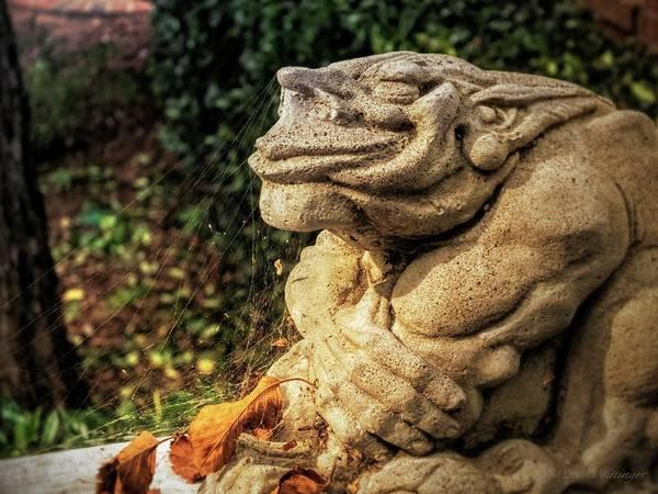 Gargoyle Art Print Featuring The Photograph Gothic Garden Gargoyle Statue  Spider Webs By Melissa Bittinger