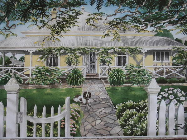Home Art Print featuring the painting Grand Old Home by Serena Valerie Dolinska