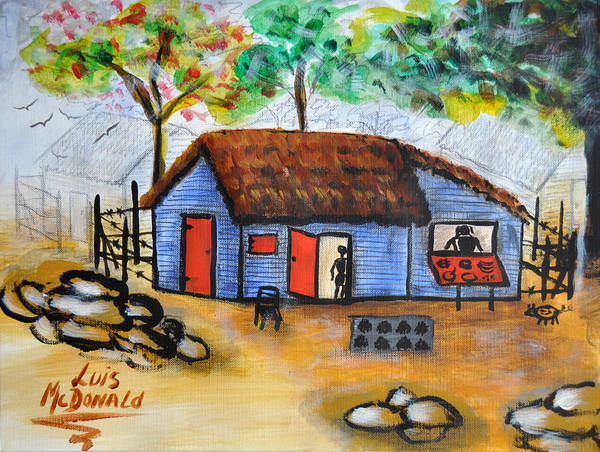 Barahona Art Print featuring the painting Grandmom And I by Luis McDonald