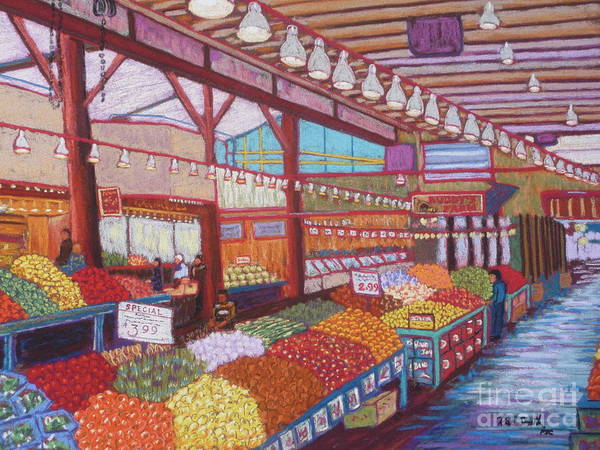 Pastels Art Print featuring the pastel Granville Island Market Bc by Rae Smith