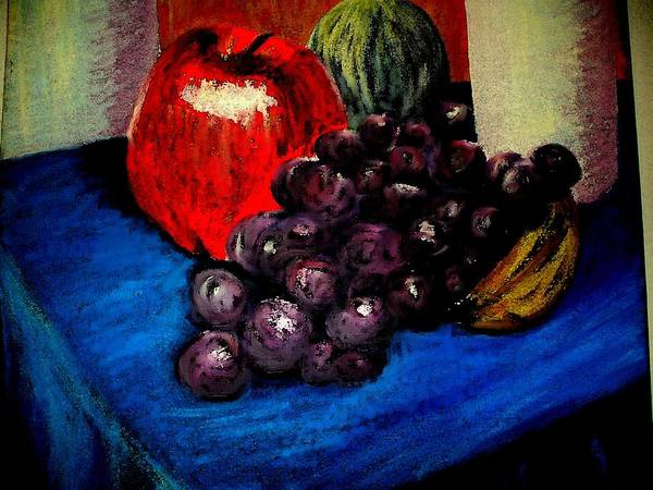 Still Life Grapes Apple Blue Purple Res Art Print featuring the painting Grapes by Bethwyn Mills