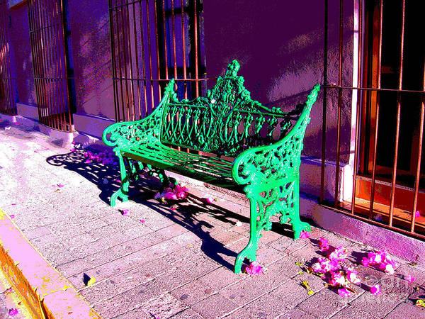 Michael Fitzpatrick Art Print featuring the photograph Green Bench By Michael Fitzpatrick by Mexicolors Art Photography
