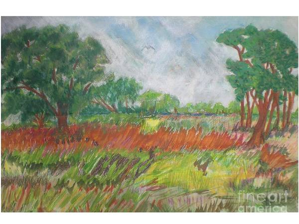Landscape Art Print featuring the pastel Green Fields Of Spring by Hal Newhouser