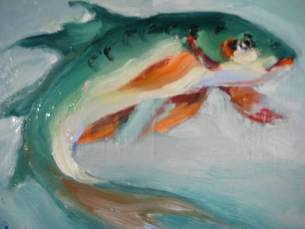 Fish Art Print featuring the painting Green Fish by Susan Jenkins