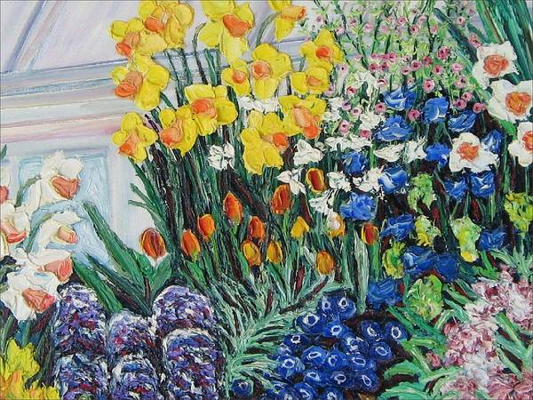 Flowers Art Print featuring the painting Green House Flowers by Richard Nowak