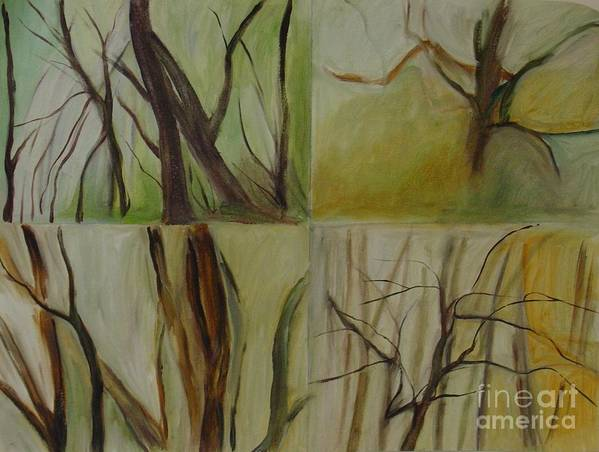 Spring Young Trees Saplings Trees Art Print featuring the painting Green Sonnet by Leila Atkinson