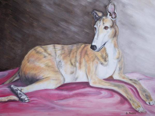 Brindle Art Print featuring the painting Greyhound Number 2 by George Pedro