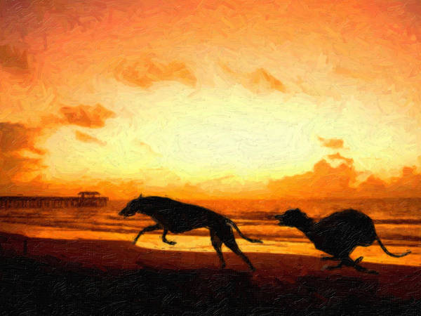 Greyhound Print featuring the painting Greyhounds On Beach by Michael Tompsett
