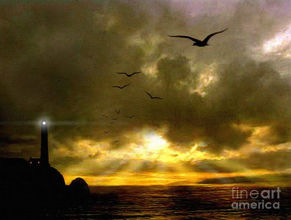 Seascape Print featuring the painting Gull Flight by Robert Foster