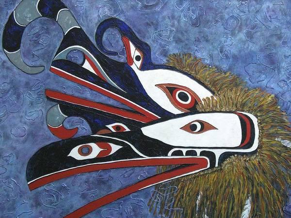 North West Native Art Print featuring the painting Hamatsa Masks by Elaine Booth-Kallweit