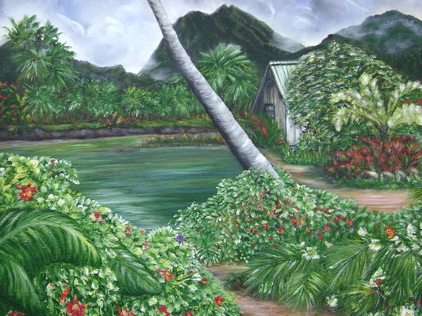 Tropical Gardenscape Art Print featuring the painting Hanalei Kanaka House by Laura Johnson