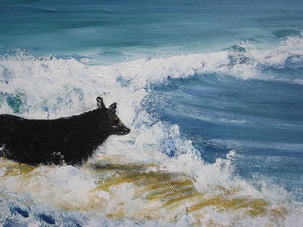 Surfing Art Print featuring the painting Hang What Where. by Laura Johnson