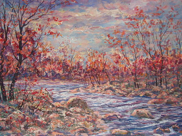 Landscape Art Print featuring the painting Happy Autumn Days. by Leonard Holland