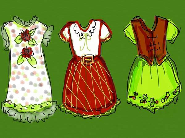Christmas Dresses Art Print featuring the digital art Happy Christmas Dresses by Laurel Foster
