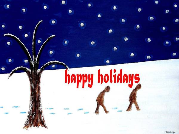 Christmas Art Print featuring the painting Happy Holidays 5 by Patrick J Murphy