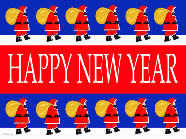 Christmas Art Print featuring the painting Happy New Year 7 by Patrick J Murphy