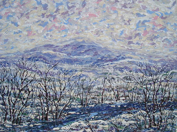 Landscape Art Print featuring the painting Happy Winter. by Leonard Holland