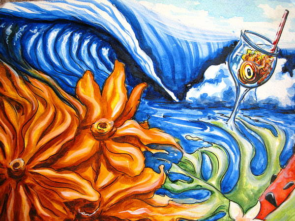 Surf Art Print featuring the painting Happyhour by Ronnie Jackson