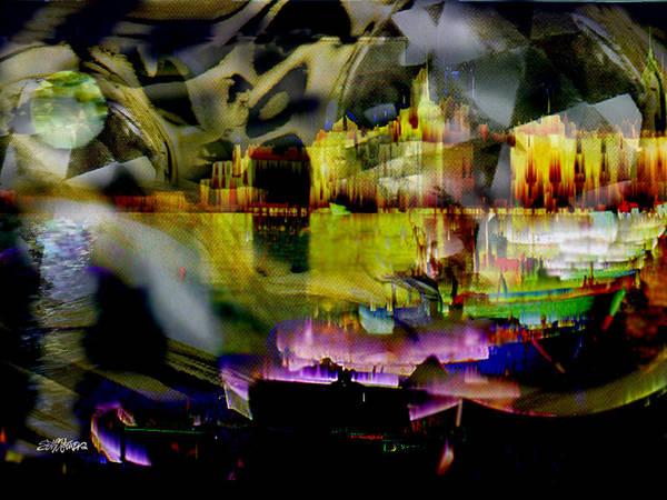 European Art Print featuring the digital art Harbor Scene Through A Vodka Bottle by Seth Weaver