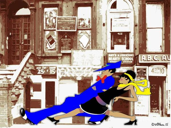 Harlem Art Print featuring the digital art Harlem Strut by Walter Oliver Neal