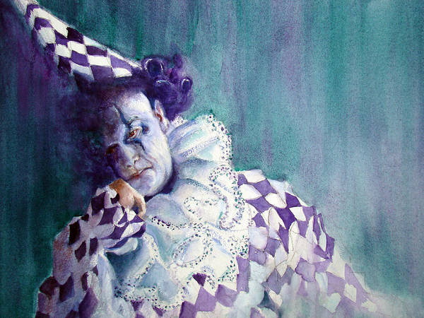 Unhappy Clown Portrait Art Print featuring the painting Harlequin I by Myra Evans