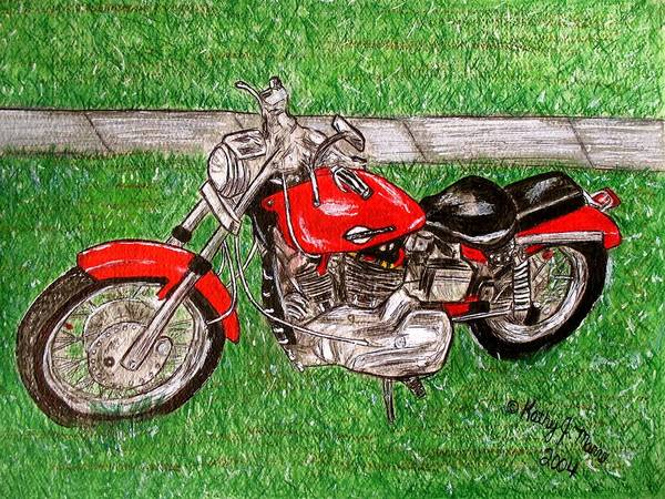 Harley Art Print featuring the painting Harley Red Sportster Motorcycle by Kathy Marrs Chandler