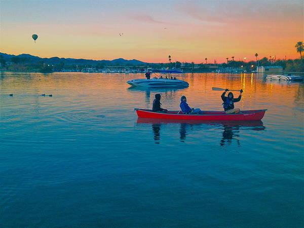 Canoe Art Print featuring the photograph Havasu Canoe Ride At Sunrise by Carol Smythe