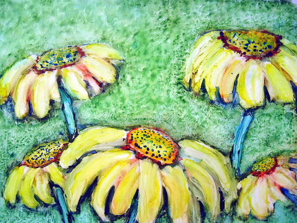 Flowers Art Print featuring the painting He Loves Me Not by Selma Glunn