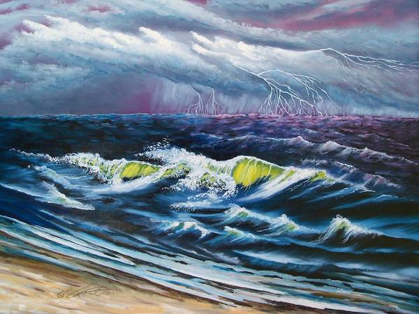 Landscape-seascape-weather Art Print featuring the painting Heat Storm by Dennis Vebert