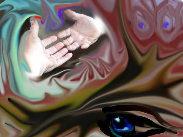 Hands Art Print featuring the digital art Helping Hands Abstract by Cathy Kaiser