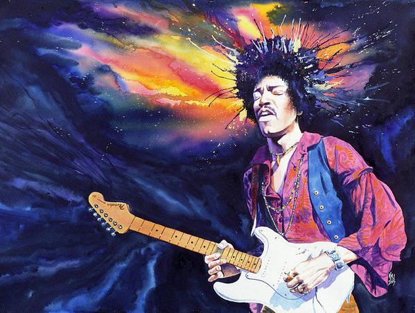 Jimi Hendrix Art Print featuring the painting Hendrix by Ken Meyer jr