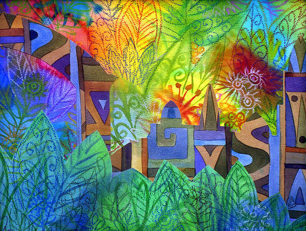 Jungle Mysterious Tropical Lost City Caribbean Bright Colours Art Print featuring the painting Hidden City by Jennifer Baird