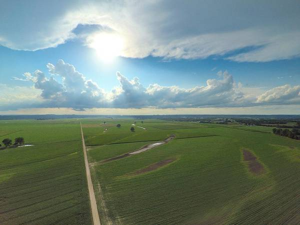 Drone Art Print featuring the photograph High Above Cropland by Matthew Reis