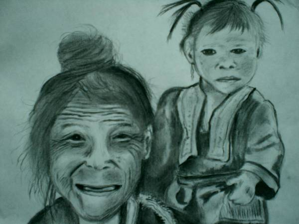 Hill Tribe Art Print featuring the drawing Hill Tribe Lady And Child by Colin O neill