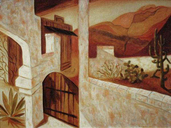 Arizona Art Print featuring the painting Home In Kingman Arizona by Suzanne Marie Leclair