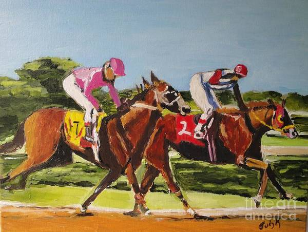 Horse Art Print featuring the painting Home Stretch by Judy Kay